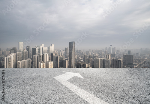 Fototapety, obrazy: Panoramic skyline and buildings with empty road