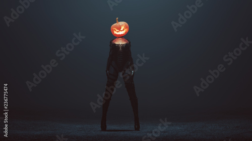 Stampa su Tela Sexy Pumpkin Head Devil Woman in a Bodice an Leather Boots in a foggy void 3d Il