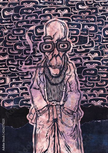 Funny Gonzo Dude And Hallucinogenic background with a lot of eyes Wallpaper Mural