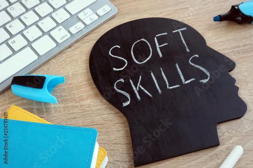 Fotografie, Obraz  Soft skills written on a blackboard with the shape of a head.