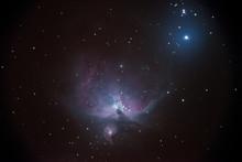 Orion Nebula On The Night Starry Sky