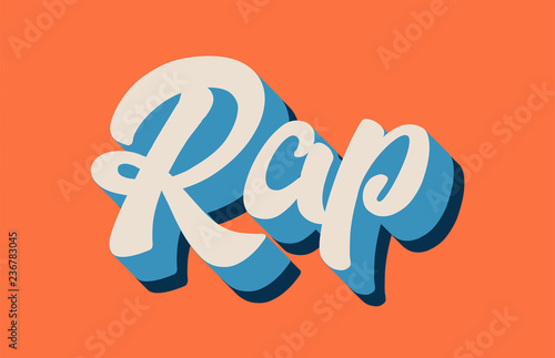 Photo orange blue white rap hand written word text for typography logo design