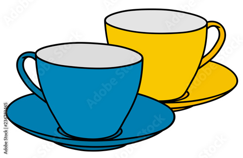 Fényképezés  The blue and yellow coffee cups
