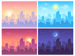 Daytime cityscape. Morning, day and night city skyline landscape, town buildings in different time and urban vector background