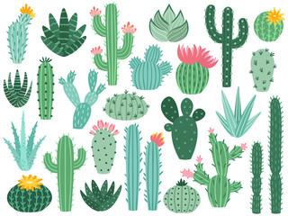 Meksički kaktus i aloja. Pustinjska bodljikava biljka, cvijet meksičkih kaktusa i tropske kućne biljke izolirana vektorska kolekcija
