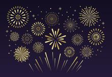 Gold Festive Fireworks. Christ...