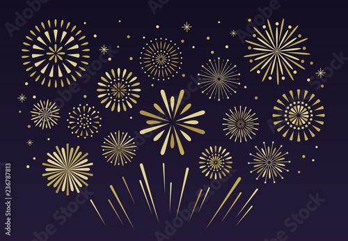 Fototapeta Gold festive fireworks. Christmas pyrotechnics firecracker vecto obraz