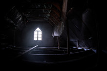 Mysterious Mood Created By White Light In The Window, Subtle Illuminated Floor And Total Darkness Around