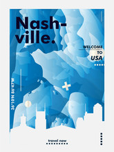 USA Nashville Skyline City Gradient Vector Poster