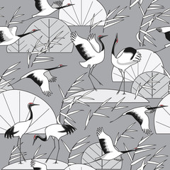 FototapetaMonochrome Seamless Pattern with Cranes and Reeds