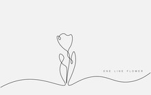 Spring Flowers Isolated On White Background. Continuous Line Drawing. Vector Illustration