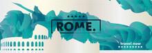 Italy Rome Skyline City Gradient Vector Banner