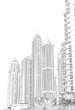 digitale Strichzeichnung Foto Skizze, Skyline von Dubai, Illustration