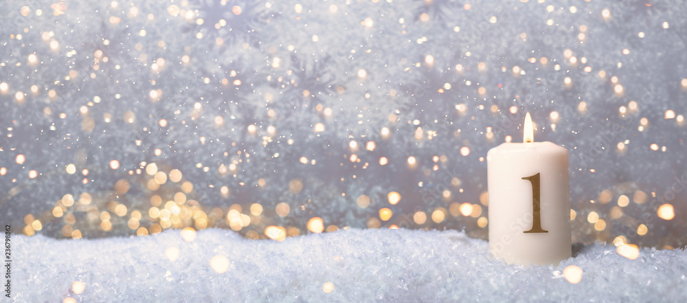 Fototapeta 1 Advent golden Hintergrund Sonntag Kerze
