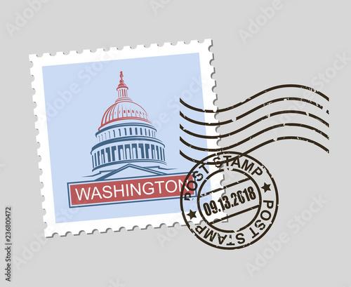 Fotografía  postage stamp with american symbol capitol building