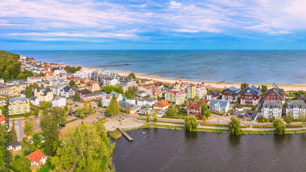 Fototapety, obrazy: Panorama Luftbild Seebad Bansin auf Insel Usedom