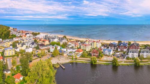 Obraz Panorama Luftbild Seebad Bansin auf Insel Usedom - fototapety do salonu