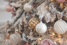 Christmas Decoration. Xmas Tree Toys. Background