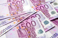 500 Euro Money Banknotes Background, Top View Of Stack Cash