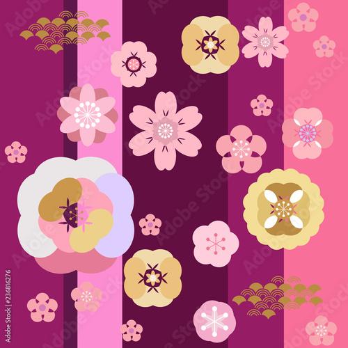 Poster Oiseaux, Abeilles Japanese pattern554