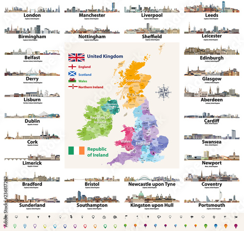 Map Of Uk And Ireland With Cities.Vector Set Of British Isles Countries Cities Skylines Abstract Icons