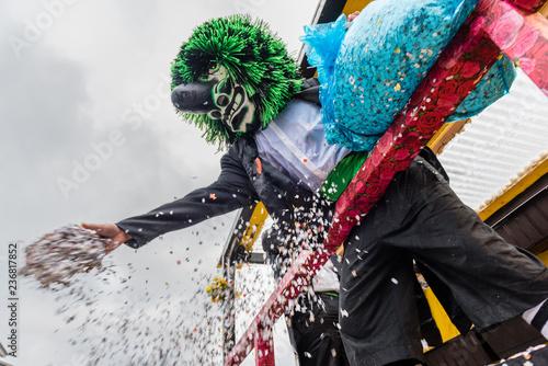 Fotografie, Obraz  Waggis verteilt konfettie vom wagen an der Fasnacht