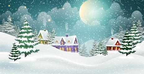 Fototapeta Boże Narodzenie/Nowy Rok Winter village landscape