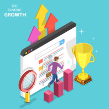 Flat Isometric Vector Concept Of Seo Ranking Growth, Web Analytics, Website Optimization Marketing.