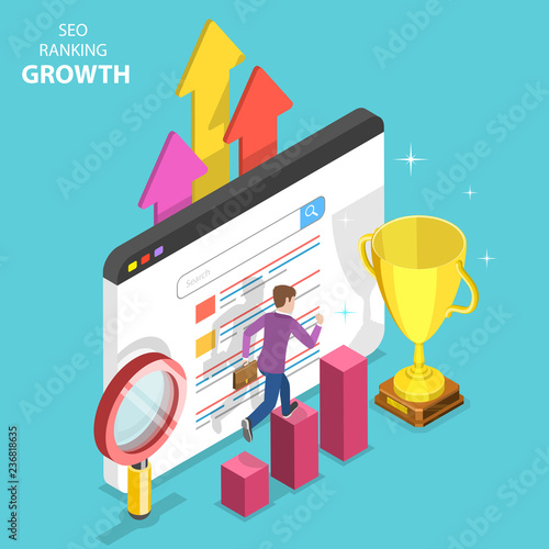 Fotomural Flat isometric vector concept of seo ranking growth, web analytics, website optimization marketing