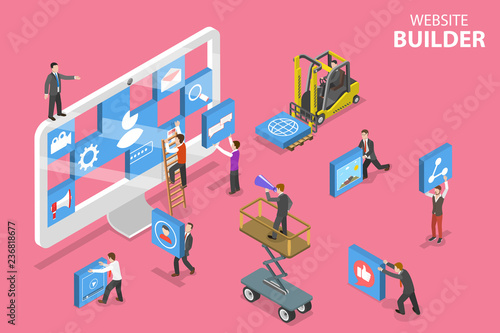 Isometric flat vector concept of website builder, site constructor, web services agency, software deveolpment.