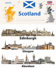 Scotland Subdivisions (unitary Authorities) Map And Scottish Largest Cities Skylines. All Elements Separated In Editable And Detachable Layers. Vector Illustration