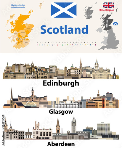 Scotland subdivisions (unitary authorities) map and Scottish largest cities skylines Wallpaper Mural