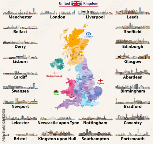 Map Of Uk With Countries.United Kingdom Cities Skylines Detailed Map Of United