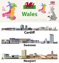Wales Cities, Countries And Country Boroughs Map And Welsh Largest Cities Skylines Icons. All Elements Separated In Editable And Detachable Layers. Vector Illustration