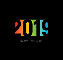 Happy New 2019 Year Sign. Colo...