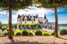 Chateau Amboise Framed By Trees Of Beautiful Renaissance Garden. Loire Valley, France.