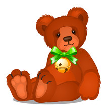 Soft Toy Teddy Bear With Jingle Bells With Green Ribbon Bow Isolated On White Background. Sketch Of Christmas Festive Poster, Party Invitation, Other Holiday Card. Vector Cartoon Close-up Illustration