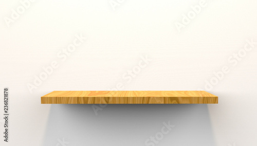 Fotografía  3D Illustration of floating shelf mounted on wall