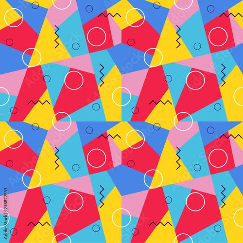 geometric 90s memphis pattern vector background bright color
