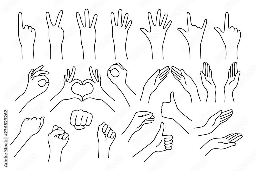 Fototapeta set of realistic gestures hand shape