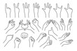 set of realistic gestures hand shape