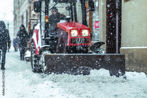 Printed kitchen splashbacks Storm snowstorm in city. cleaning streets of snow