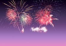 Colourful Fireworks On Pink, V...