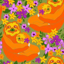 Sloths Hugging Among Flowers S...