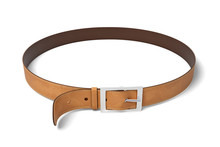 3d Rendering Of Brown Leather Belt With Metal Buckle Isolated On White Background