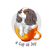 Cavalier King Charles Spaniel Puppy In A Orange Cup. Vector Illustration.