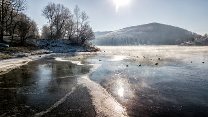 DRON Bieszczasy zima śnieg