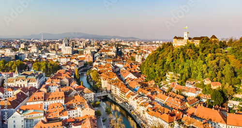 Foto op Plexiglas Centraal Europa Aerial panoramic view of Ljubljana, capital of Slovenia in warm afternoon sun.
