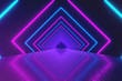 canvas print picture Abstract motion geometric background, glowing neon squares creating a rotating tunnel, blue pink purple spectrum, fluorescent ultraviolet light, modern colorful lighting, 3d illustration