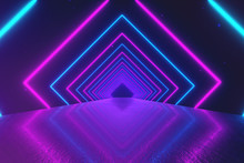 Abstract Motion Geometric Background, Glowing Neon Squares Creating A Rotating Tunnel, Blue Pink Purple Spectrum, Fluorescent Ultraviolet Light, Modern Colorful Lighting, 3d Illustration